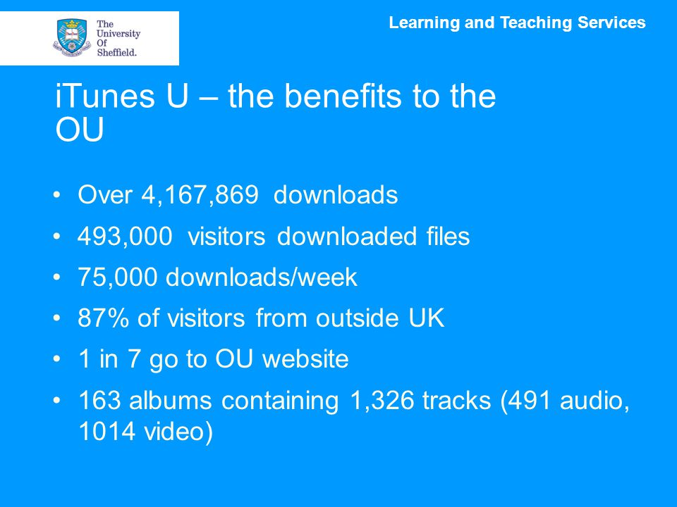 Learning and Teaching Services iTunes U – the benefits to the OU Over 4,167,869 downloads 493,000 visitors downloaded files 75,000 downloads/week 87% of visitors from outside UK 1 in 7 go to OU website 163 albums containing 1,326 tracks (491 audio, 1014 video)