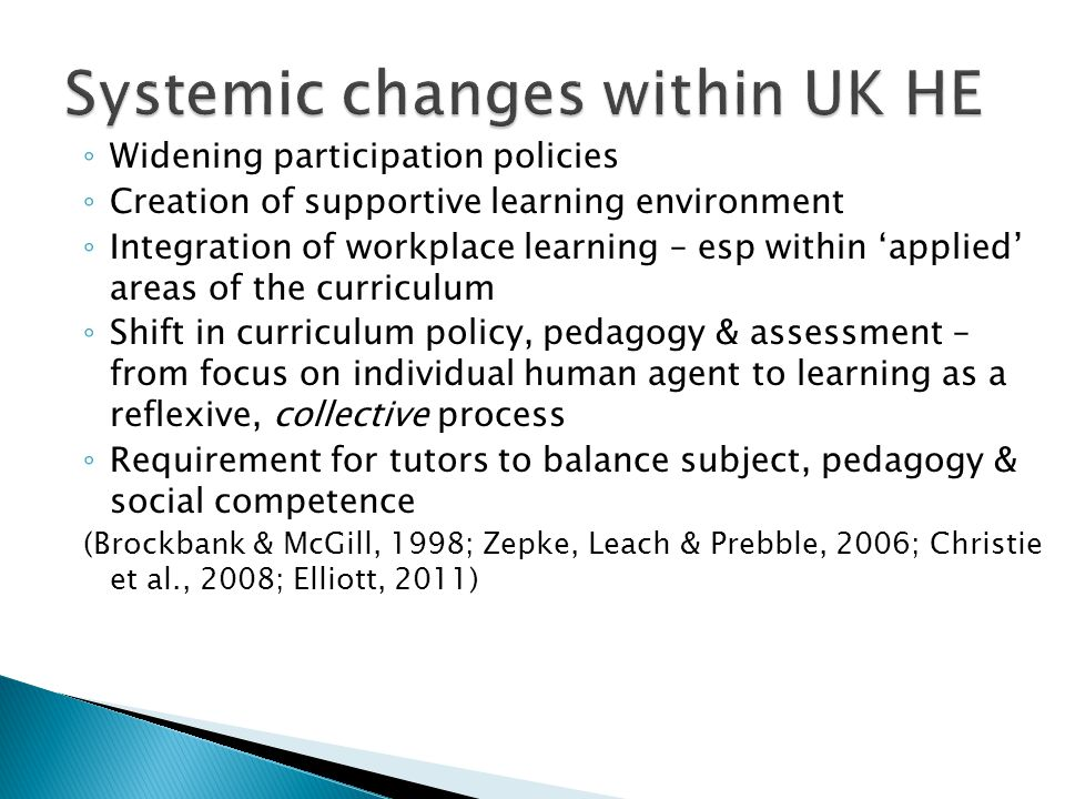 ◦ Widening participation policies ◦ Creation of supportive learning environment ◦ Integration of workplace learning – esp within 'applied' areas of the curriculum ◦ Shift in curriculum policy, pedagogy & assessment – from focus on individual human agent to learning as a reflexive, collective process ◦ Requirement for tutors to balance subject, pedagogy & social competence (Brockbank & McGill, 1998; Zepke, Leach & Prebble, 2006; Christie et al., 2008; Elliott, 2011)