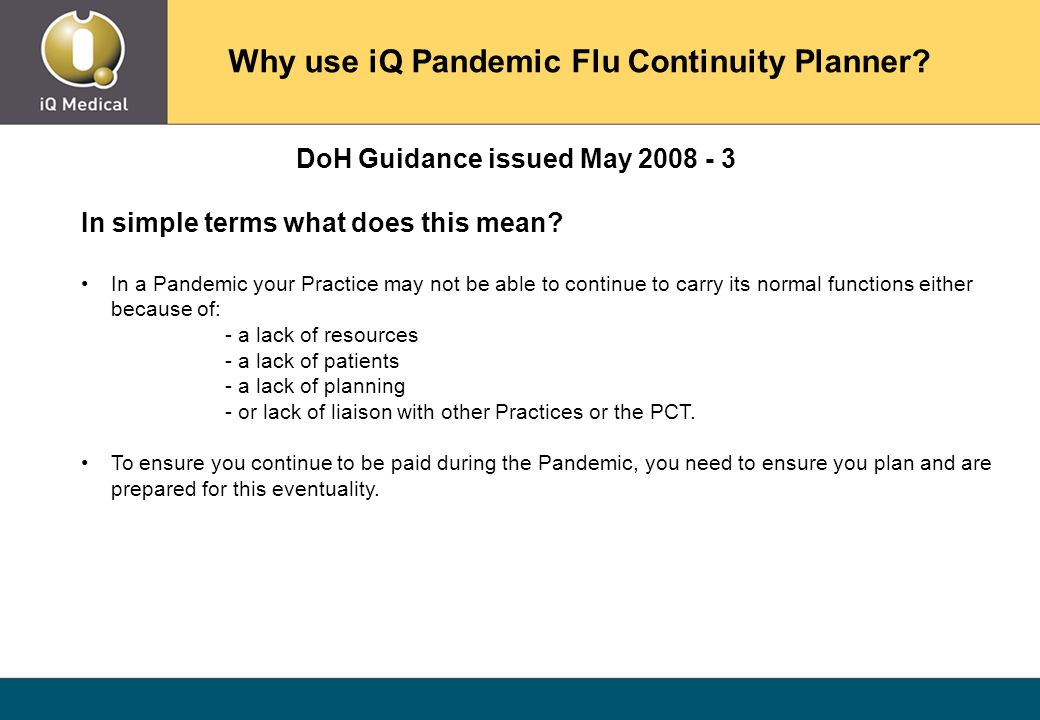 DoH Guidance issued May 2008 - 3 In simple terms what does this mean.