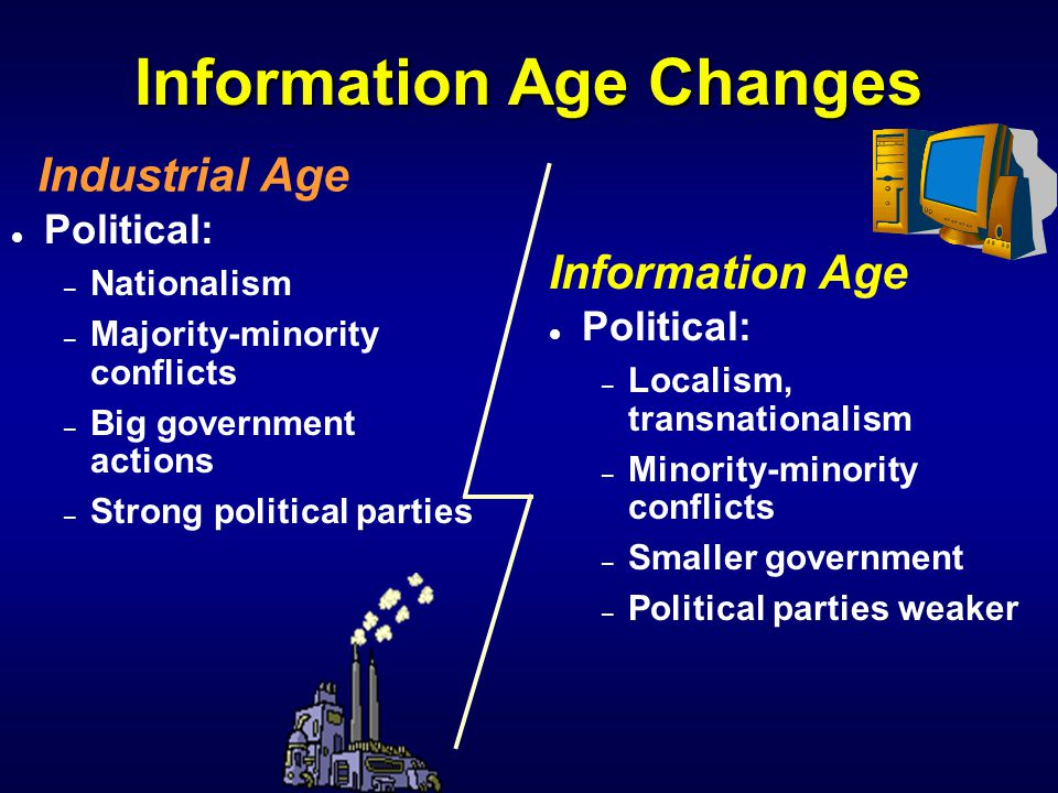 Information Age Changes l Individual: – Not unique, homogeneous society – Marxism, etc.
