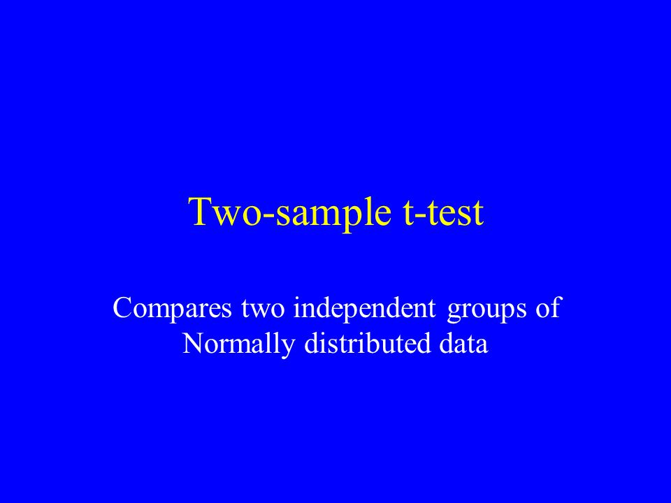 Two-sample t-test Compares two independent groups of Normally distributed data