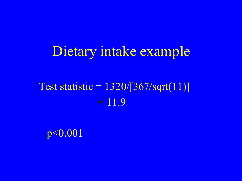 Dietary intake example Test statistic = 1320/[367/sqrt(11)] = 11.9 p<0.001