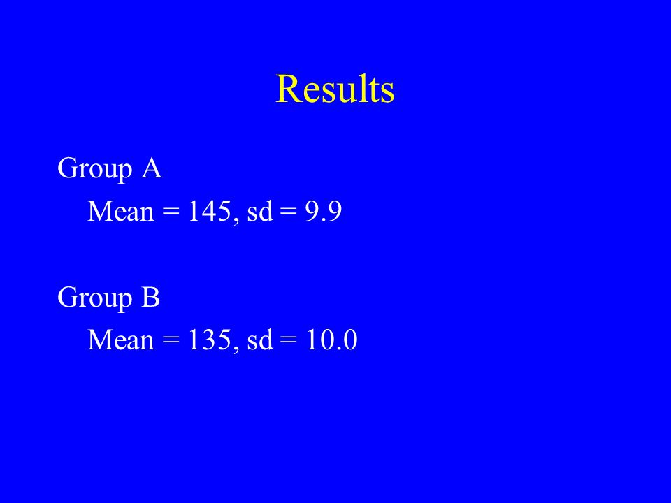 Results Group A Mean = 145, sd = 9.9 Group B Mean = 135, sd = 10.0
