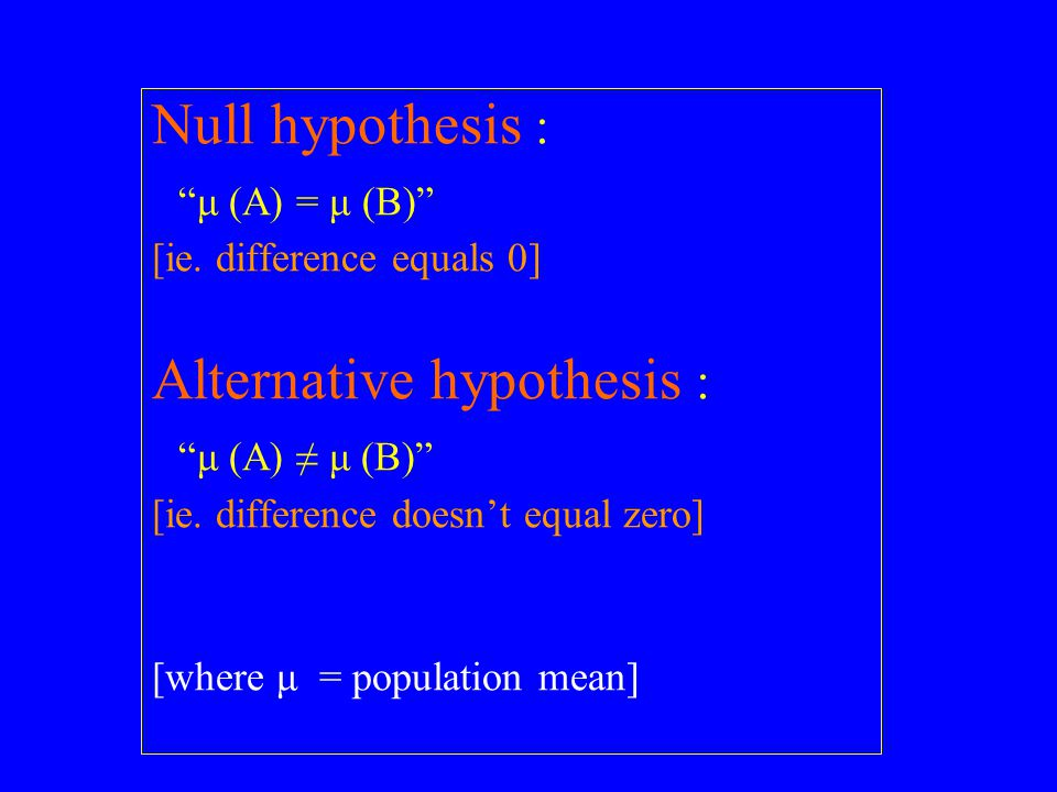Null hypothesis : μ (A) = μ (B) [ie.