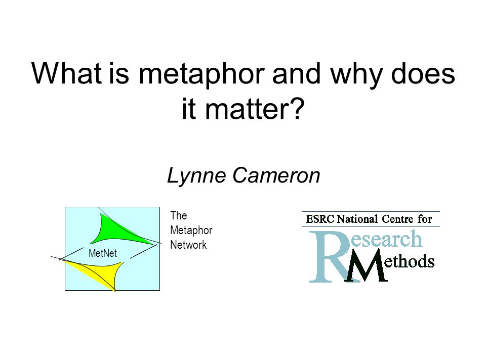 What is metaphor and why does it matter Lynne Cameron The Metaphor Network MetNet