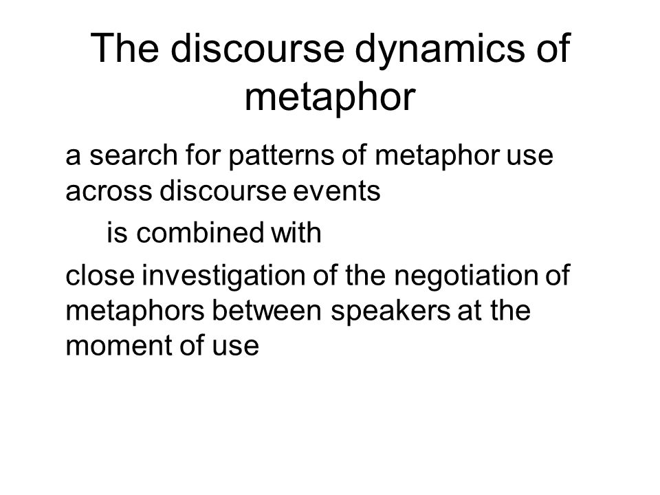 The discourse dynamics of metaphor a search for patterns of metaphor use across discourse events is combined with close investigation of the negotiation of metaphors between speakers at the moment of use
