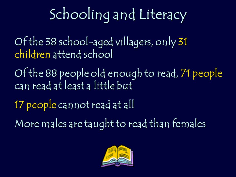Schooling and Literacy Of the 38 school-aged villagers, only 31 children attend school Of the 88 people old enough to read, 71 people can read at least a little but 17 people cannot read at all More males are taught to read than females