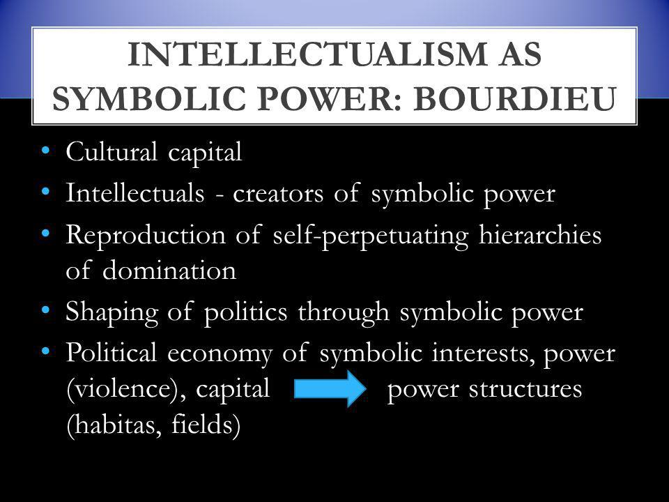 Cultural capital Intellectuals - creators of symbolic power Reproduction of self-perpetuating hierarchies of domination Shaping of politics through symbolic power Political economy of symbolic interests, power (violence), capital power structures (habitas, fields) INTELLECTUALISM AS SYMBOLIC POWER: BOURDIEU