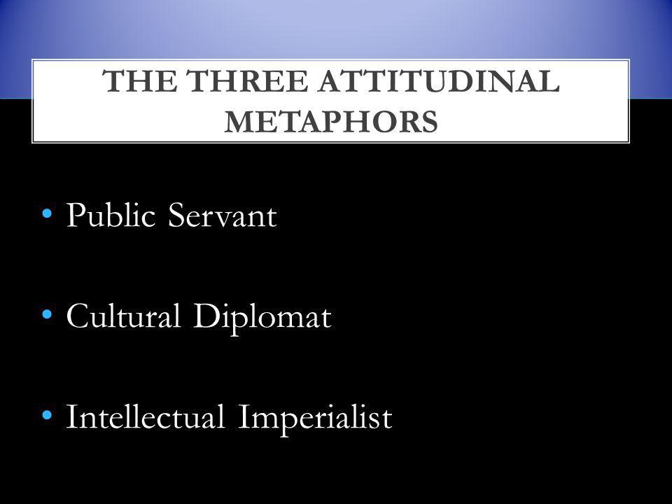 Public Servant Cultural Diplomat Intellectual Imperialist THE THREE ATTITUDINAL METAPHORS