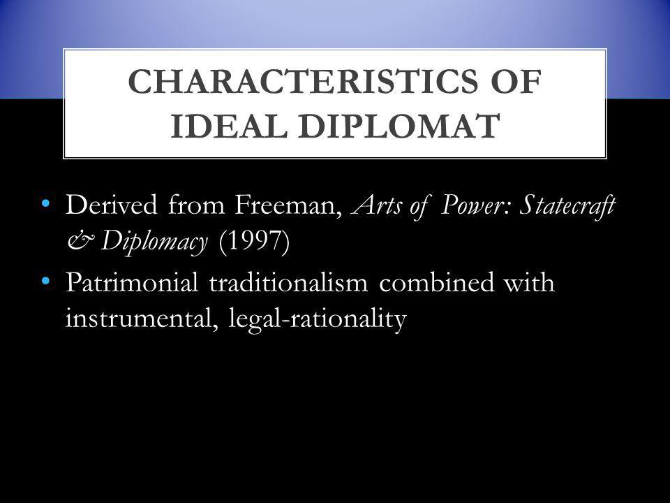 Derived from Freeman, Arts of Power: Statecraft & Diplomacy (1997) Patrimonial traditionalism combined with instrumental, legal-rationality CHARACTERISTICS OF IDEAL DIPLOMAT