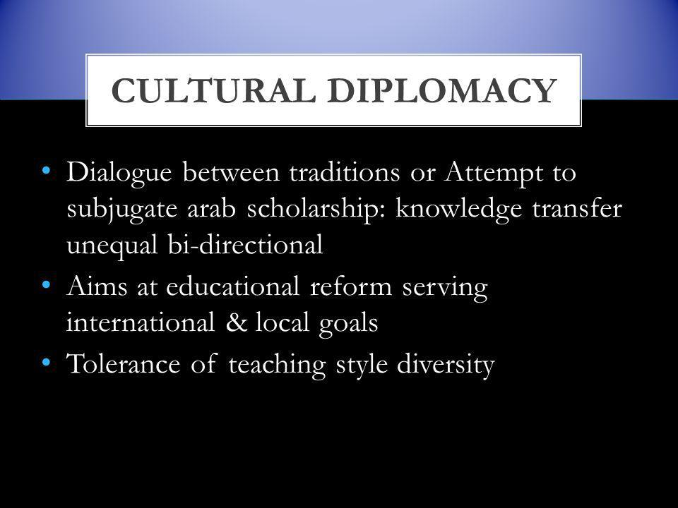 Dialogue between traditions or Attempt to subjugate arab scholarship: knowledge transfer unequal bi-directional Aims at educational reform serving international & local goals Tolerance of teaching style diversity CULTURAL DIPLOMACY
