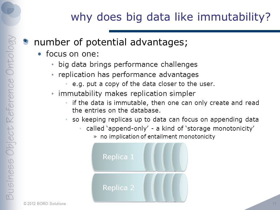 © 2012 BORO Solutions Replica 1 Replica 2 why does big data like immutability.
