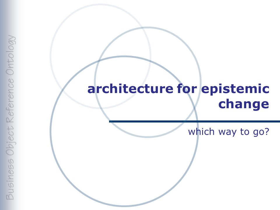 architecture for epistemic change which way to go