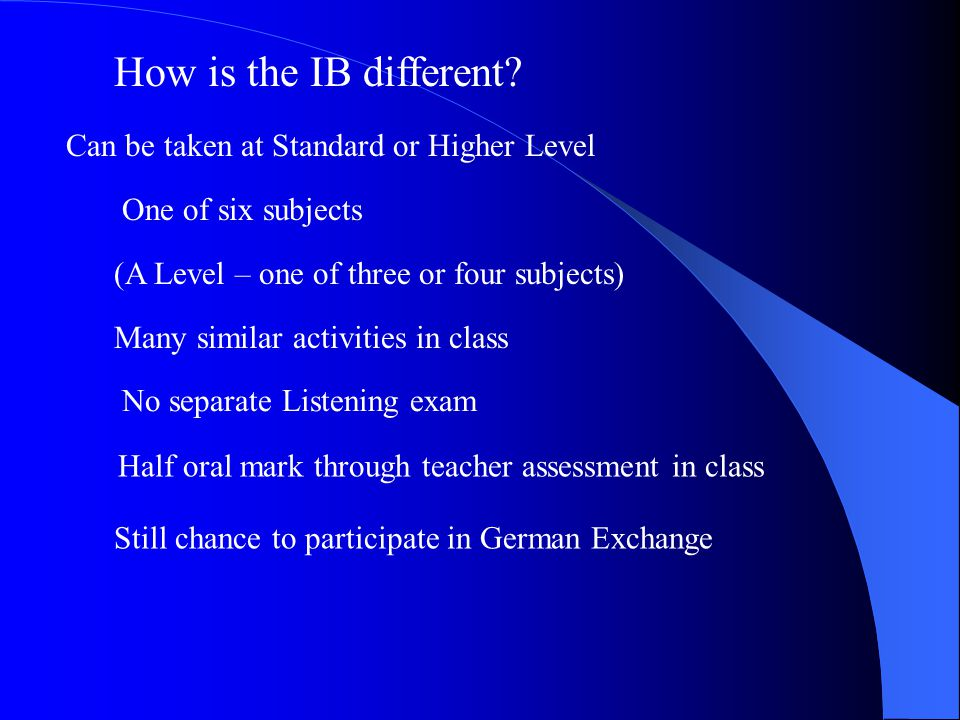 How is the IB different.