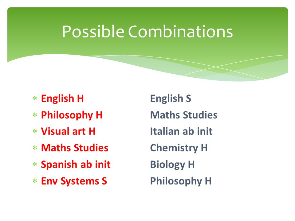  English HEnglish S  Philosophy HMaths Studies  Visual art HItalian ab init  Maths Studies Chemistry H  Spanish ab init Biology H  Env Systems SPhilosophy H Possible Combinations
