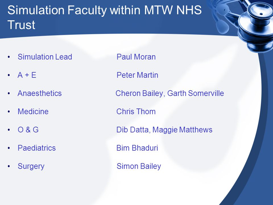 Simulation Faculty within MTW NHS Trust Simulation Lead Paul Moran A + E Peter Martin Anaesthetics Cheron Bailey, Garth Somerville Medicine Chris Thom O & G Dib Datta, Maggie Matthews Paediatrics Bim Bhaduri SurgerySimon Bailey