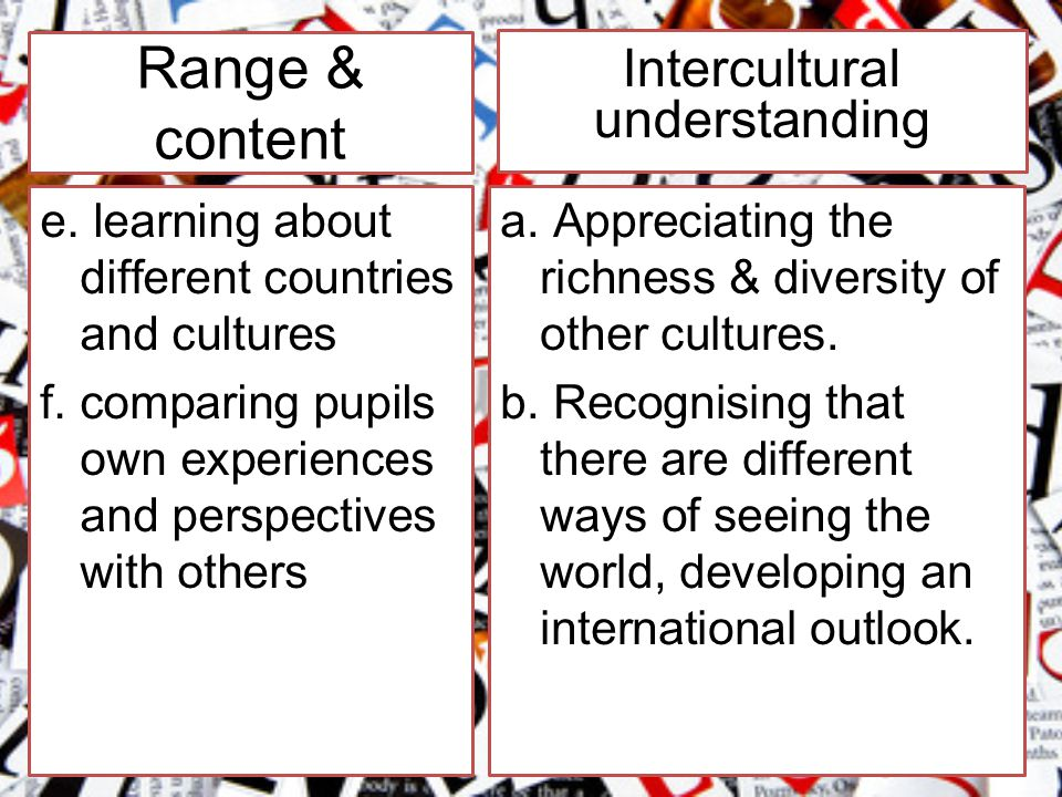 Range & content e. learning about different countries and cultures f.