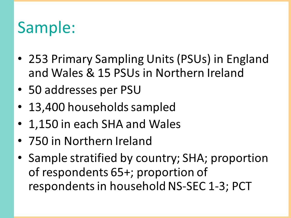 Sample: 253 Primary Sampling Units (PSUs) in England and Wales & 15 PSUs in Northern Ireland 50 addresses per PSU 13,400 households sampled 1,150 in each SHA and Wales 750 in Northern Ireland Sample stratified by country; SHA; proportion of respondents 65+; proportion of respondents in household NS-SEC 1-3; PCT