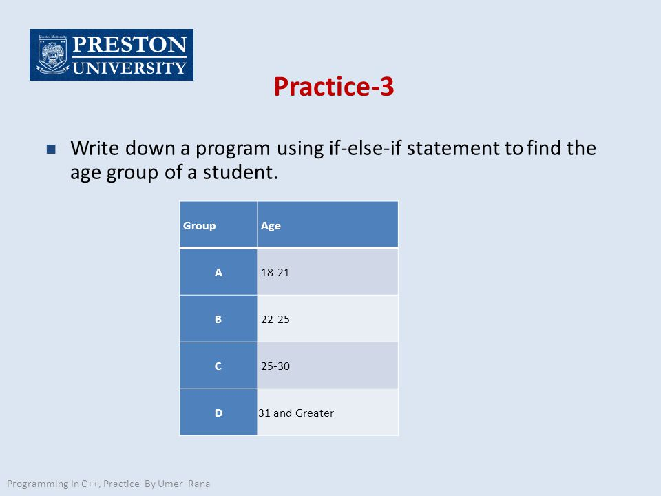 Practice-3 n Write down a program using if-else-if statement to find the age group of a student.