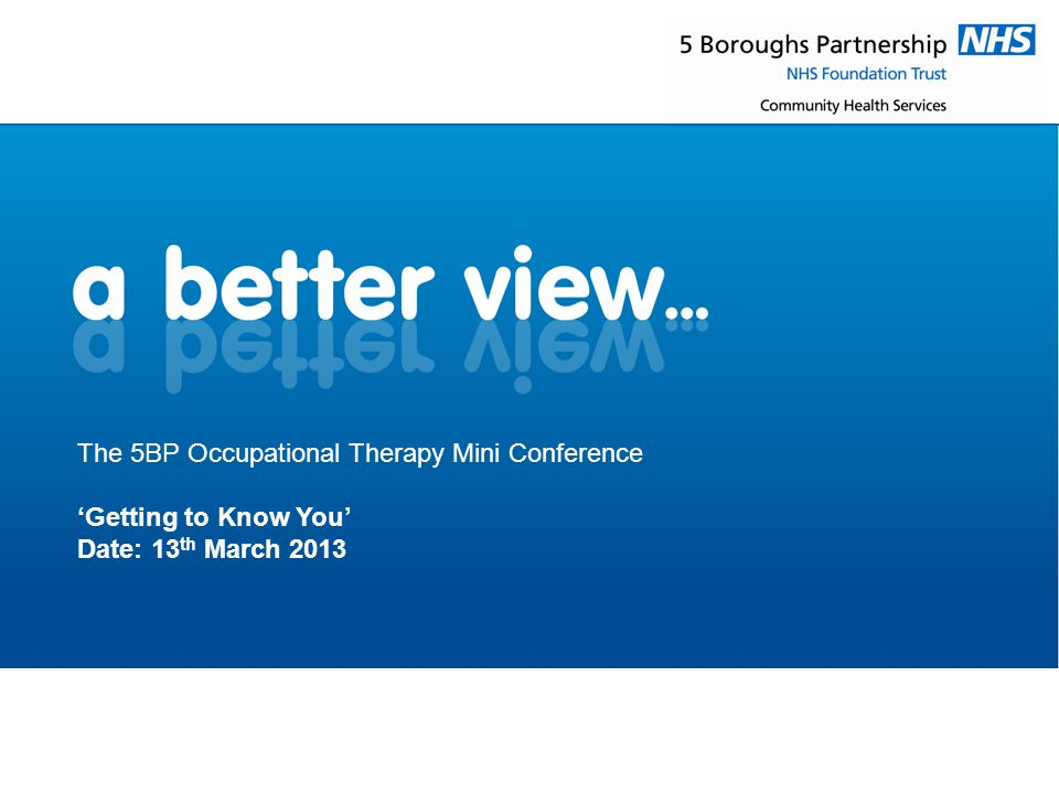 The 5BP Occupational Therapy Mini Conference 'Getting to Know You' Date: 13 th March 2013