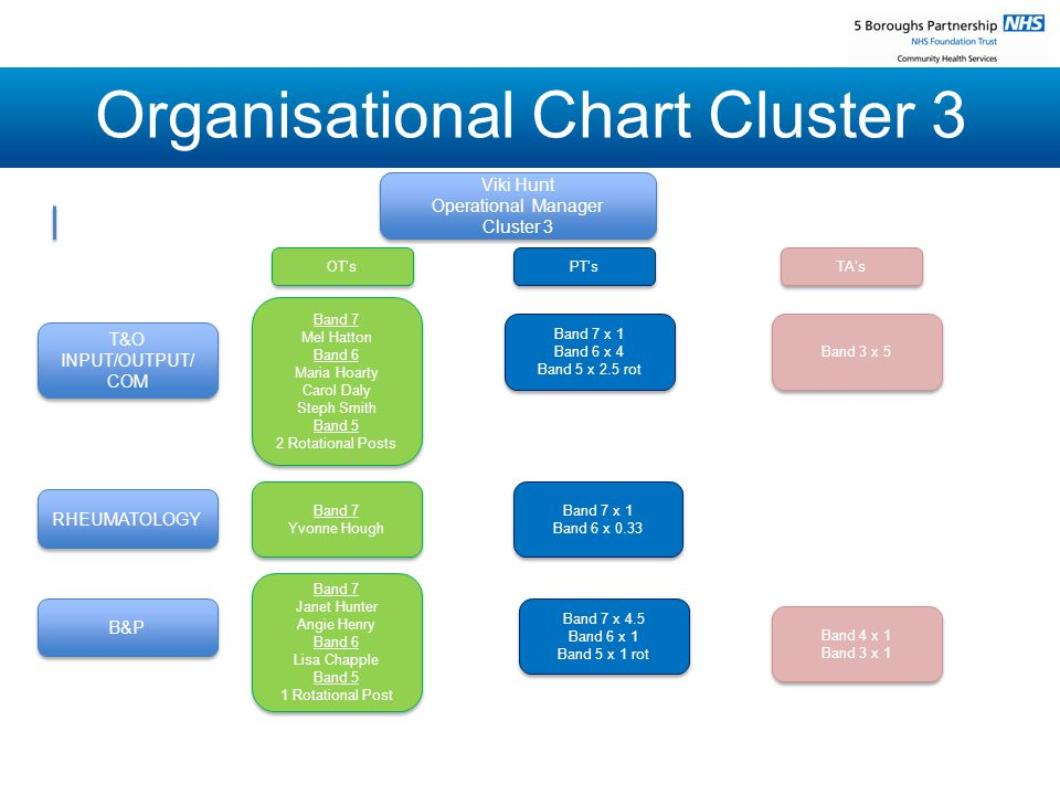 Organisational Chart Cluster 3 Viki Hunt Operational Manager Cluster 3 Viki Hunt Operational Manager Cluster 3 T&O INPUT/OUTPUT/ COM RHEUMATOLOGY B&P OT's OT's Band 7 x 1 Band 6 x 4 Band 5 x 2.5 rot Band 7 x 1 Band 6 x 4 Band 5 x 2.5 rot Band 7 Mel Hatton Band 6 Maria Hoarty Carol Daly Steph Smith Band 5 2 Rotational Posts Band 7 Mel Hatton Band 6 Maria Hoarty Carol Daly Steph Smith Band 5 2 Rotational Posts PT's PT's TA's TA's Band 3 x 5 Band 3 x 5 Band 7 Janet Hunter Angie Henry Band 6 Lisa Chapple Band 5 1 Rotational Post Band 7 Janet Hunter Angie Henry Band 6 Lisa Chapple Band 5 1 Rotational Post Band 7 x 1 Band 6 x 0.33 Band 7 x 1 Band 6 x 0.33 Band 7 Yvonne Hough Band 7 Yvonne Hough Band 7 x 4.5 Band 6 x 1 Band 5 x 1 rot Band 7 x 4.5 Band 6 x 1 Band 5 x 1 rot Band 4 x 1 Band 3 x 1 Band 4 x 1 Band 3 x 1