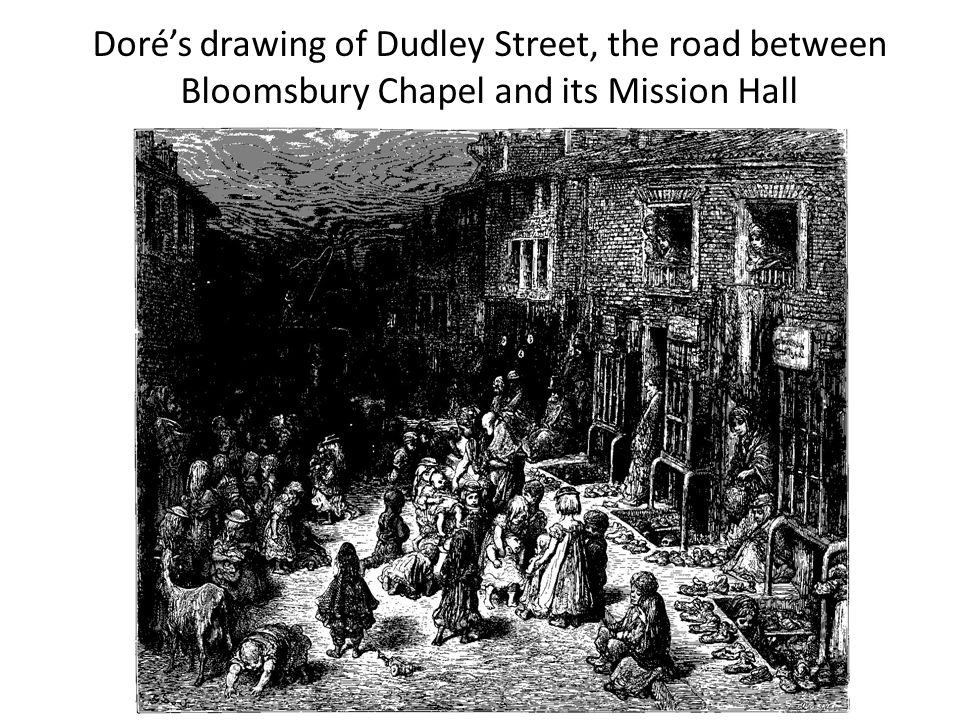 Doré's drawing of Dudley Street, the road between Bloomsbury Chapel and its Mission Hall