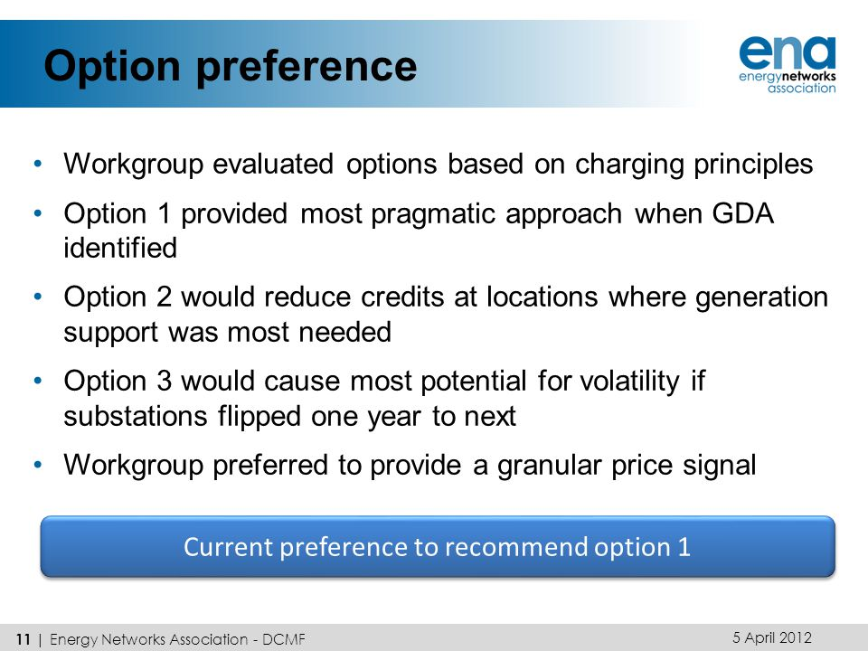Option preference Workgroup evaluated options based on charging principles Option 1 provided most pragmatic approach when GDA identified Option 2 would reduce credits at locations where generation support was most needed Option 3 would cause most potential for volatility if substations flipped one year to next Workgroup preferred to provide a granular price signal 5 April 2012 11 | Energy Networks Association - DCMF Current preference to recommend option 1