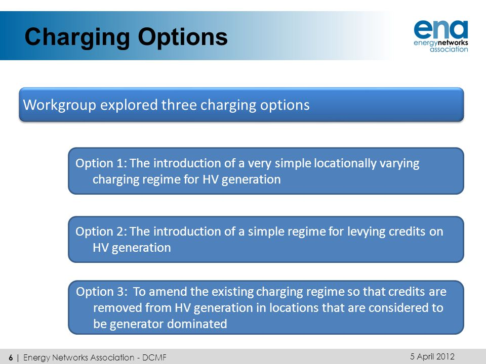Charging Options 5 April 2012 6 | Energy Networks Association - DCMF Workgroup explored three charging options Option 1: The introduction of a very simple locationally varying charging regime for HV generation Option 2: The introduction of a simple regime for levying credits on HV generation Option 3: To amend the existing charging regime so that credits are removed from HV generation in locations that are considered to be generator dominated