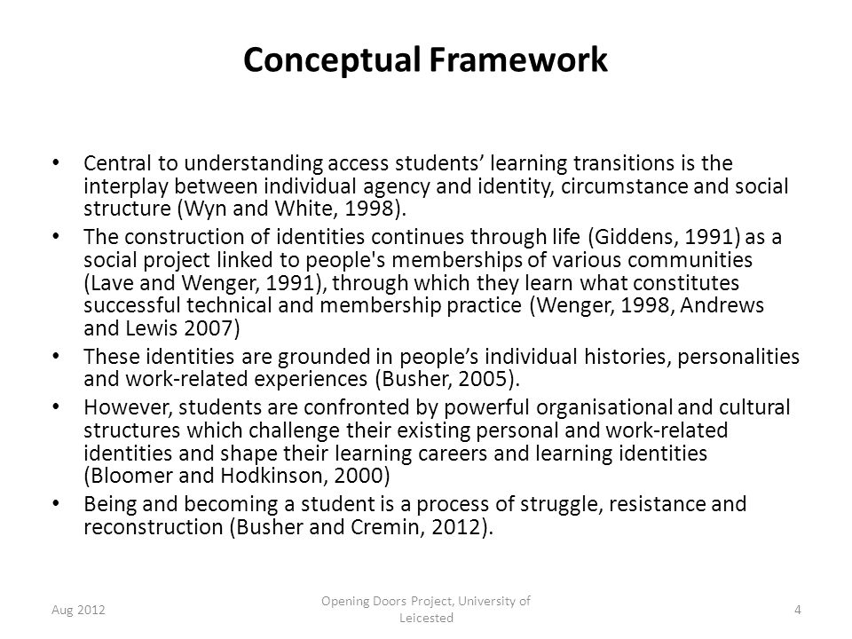 Conceptual Framework Central to understanding access students' learning transitions is the interplay between individual agency and identity, circumstance and social structure (Wyn and White, 1998).