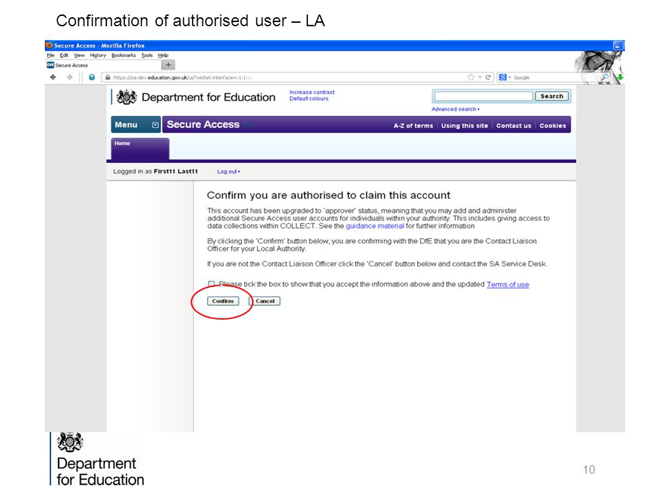 Confirmation of authorised user – LA 10