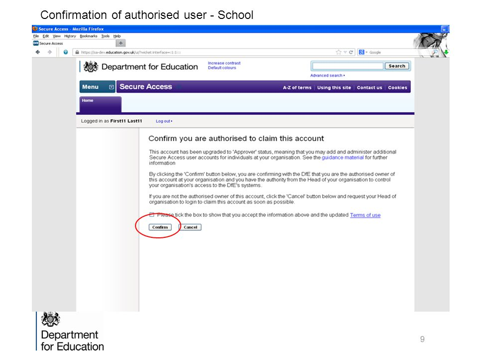 Confirmation of authorised user - School 9