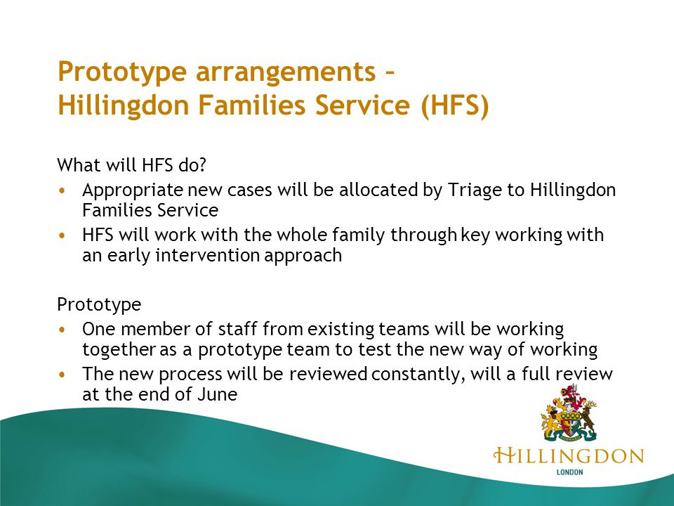 Prototype arrangements – Hillingdon Families Service (HFS) What will HFS do.