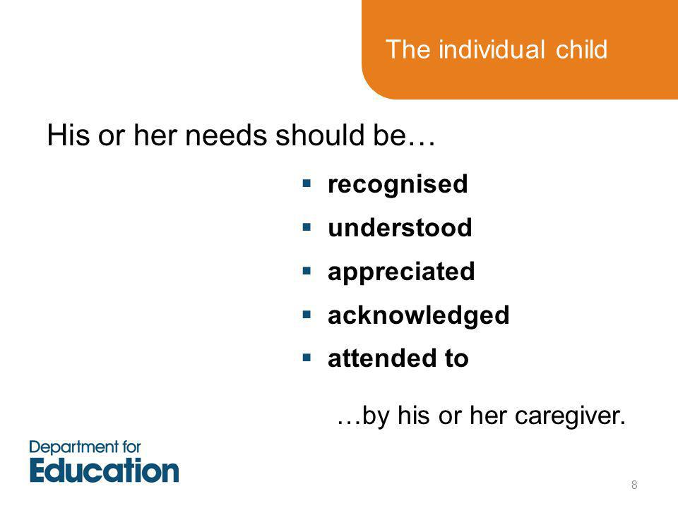 The individual child  recognised  understood  appreciated  acknowledged  attended to His or her needs should be… …by his or her caregiver.