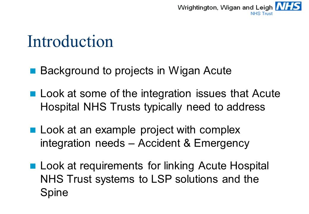 Integration projects and HL7 implementation at Wrightington