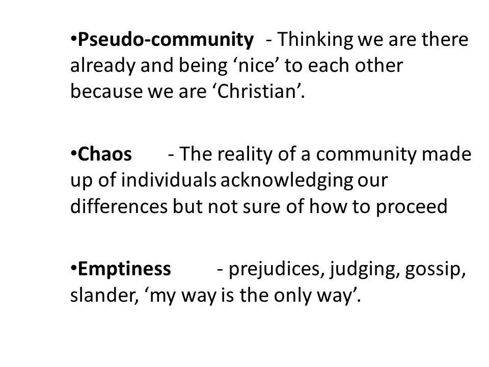 Pseudo-community- Thinking we are there already and being 'nice' to each other because we are 'Christian'.