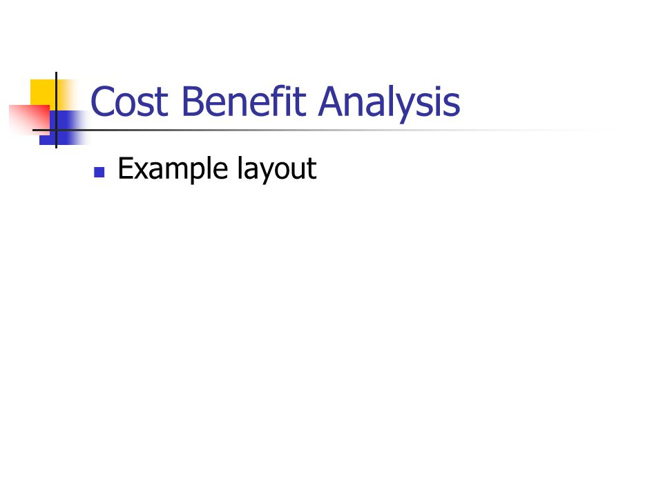 Cost Benefit Analysis Example layout