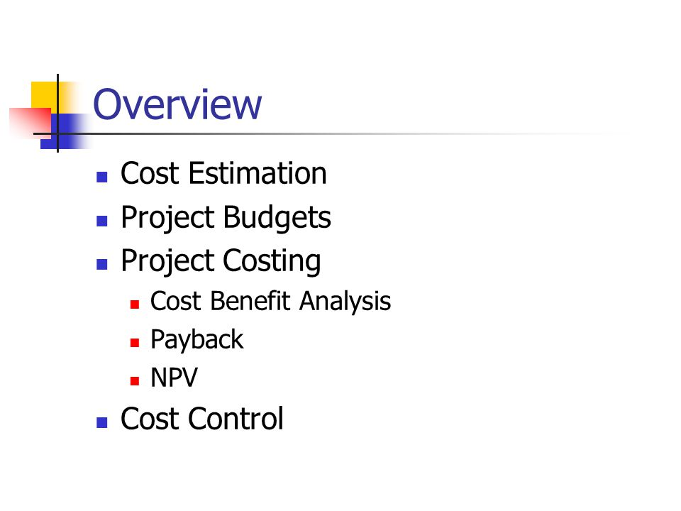 Overview Cost Estimation Project Budgets Project Costing Cost Benefit Analysis Payback NPV Cost Control