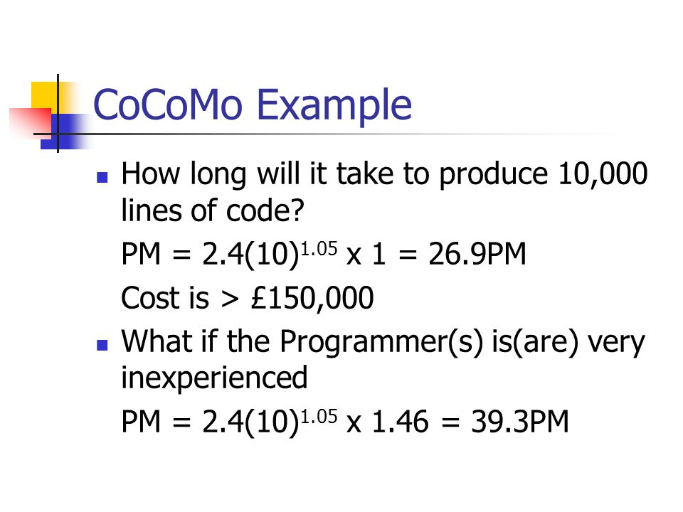 CoCoMo Example How long will it take to produce 10,000 lines of code.