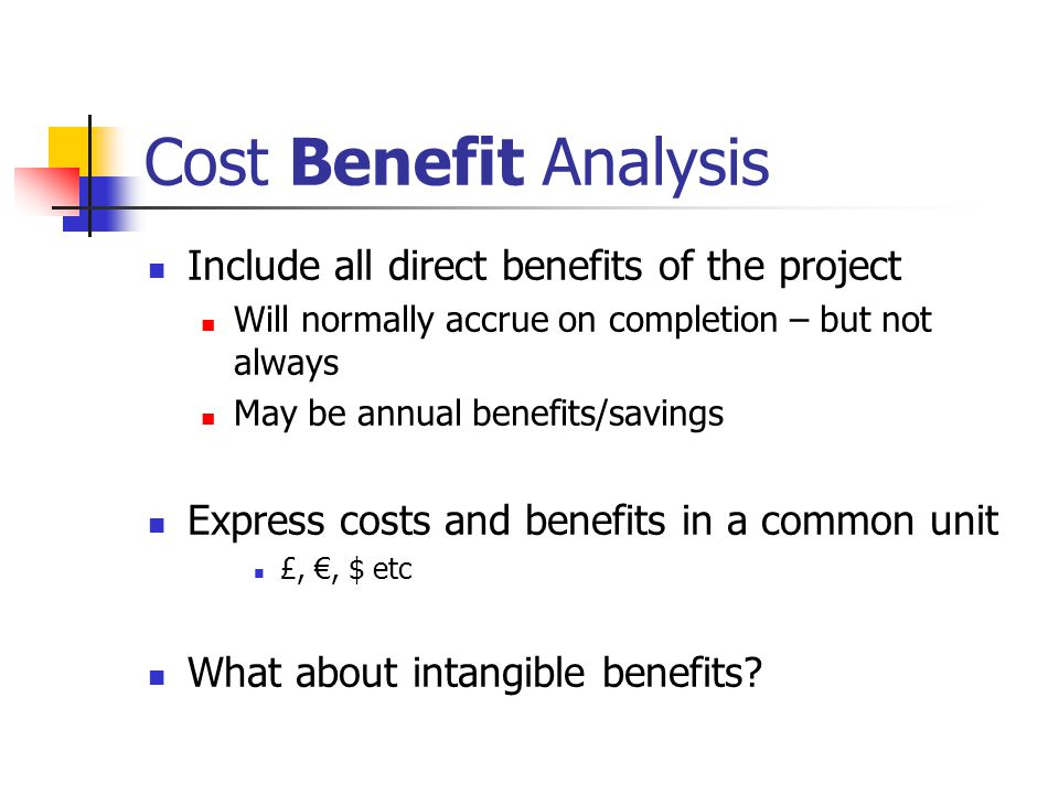 Cost Benefit Analysis Include all direct benefits of the project Will normally accrue on completion – but not always May be annual benefits/savings Express costs and benefits in a common unit £, €, $ etc What about intangible benefits
