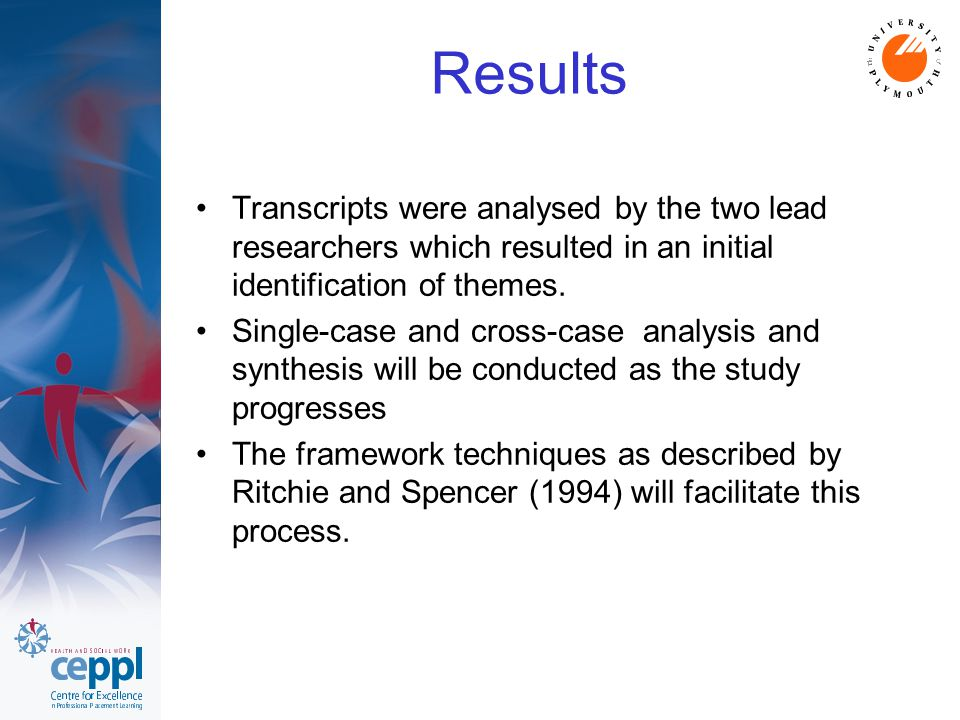 Results Transcripts were analysed by the two lead researchers which resulted in an initial identification of themes.
