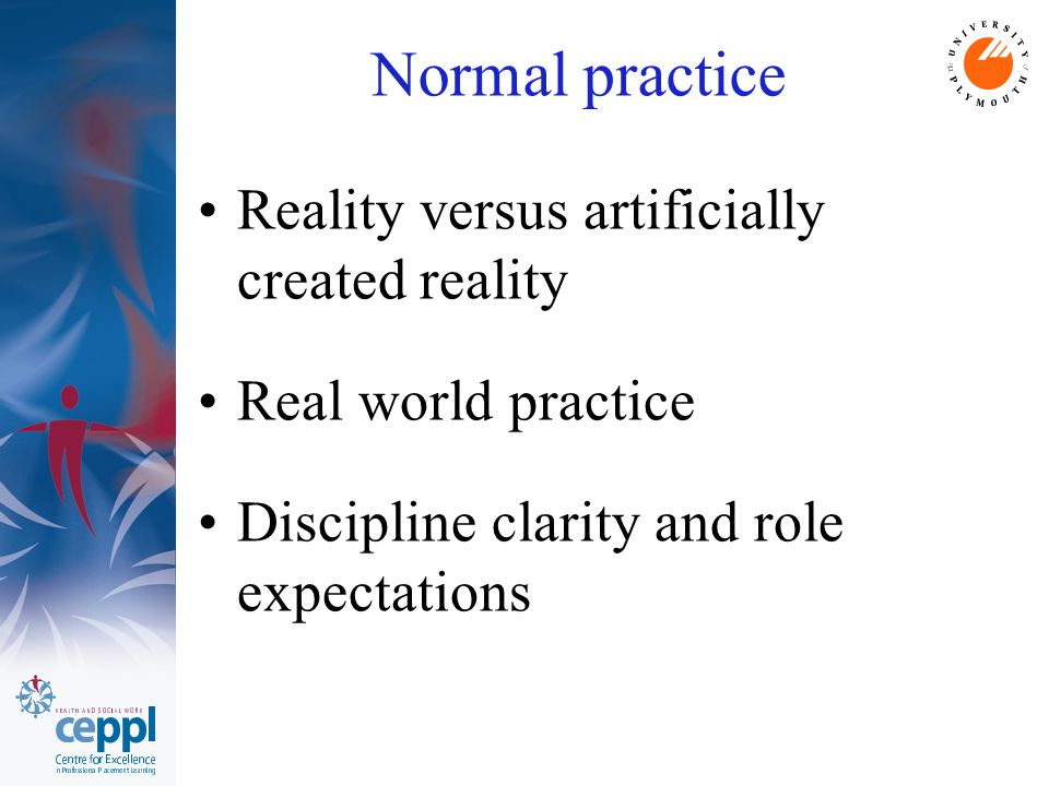 Normal practice Reality versus artificially created reality Real world practice Discipline clarity and role expectations