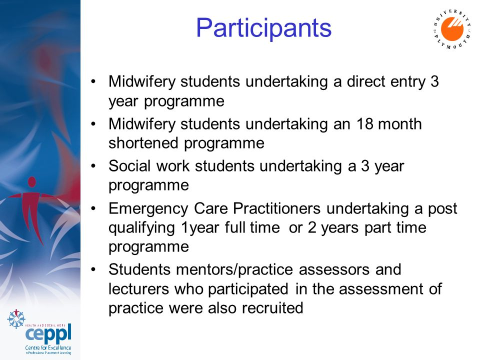 Participants Midwifery students undertaking a direct entry 3 year programme Midwifery students undertaking an 18 month shortened programme Social work students undertaking a 3 year programme Emergency Care Practitioners undertaking a post qualifying 1year full time or 2 years part time programme Students mentors/practice assessors and lecturers who participated in the assessment of practice were also recruited