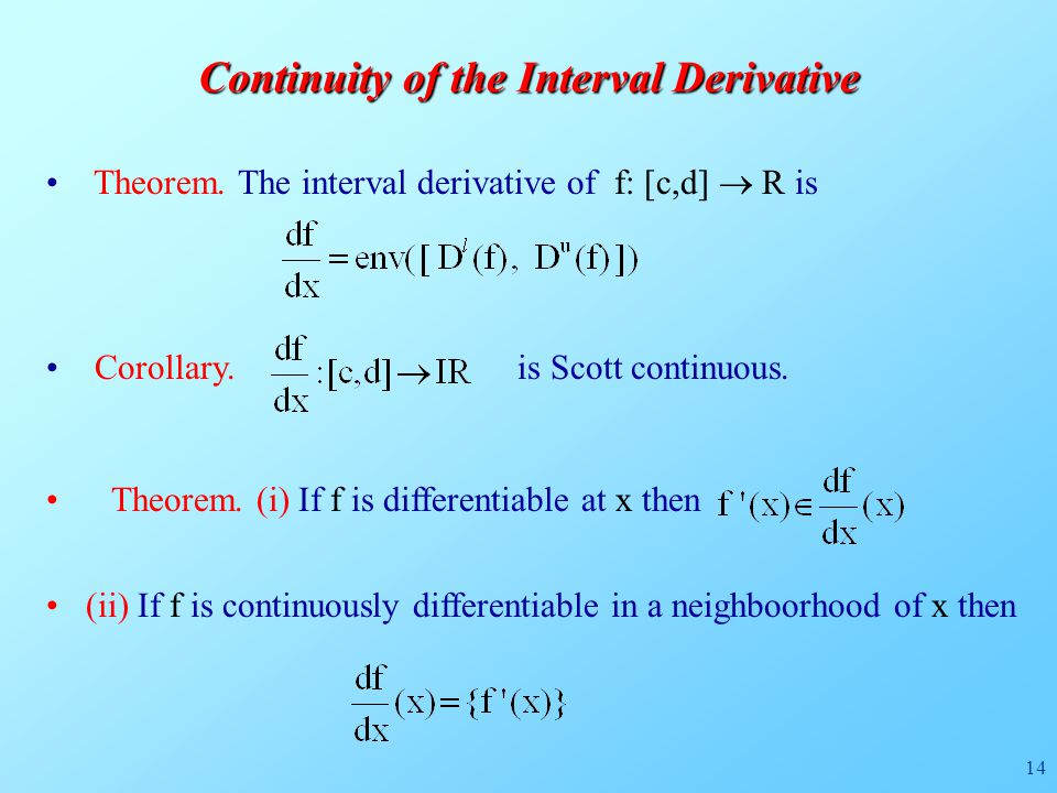 14 Continuity of the Interval Derivative Theorem.