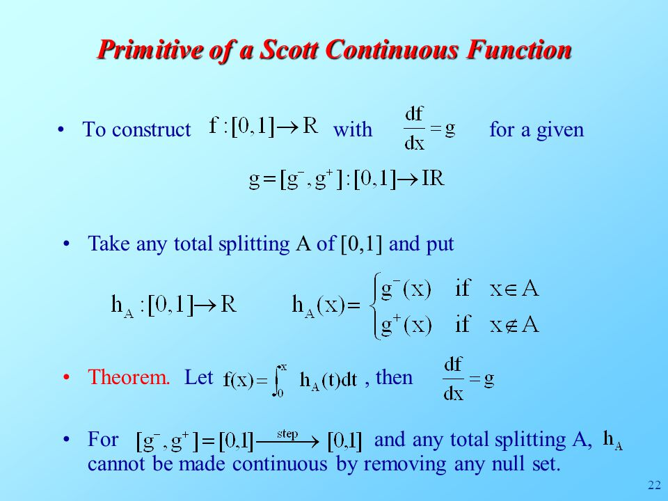 22 Primitive of a Scott Continuous Function To construct with for a given Take any total splitting A of [0,1] and put Theorem.