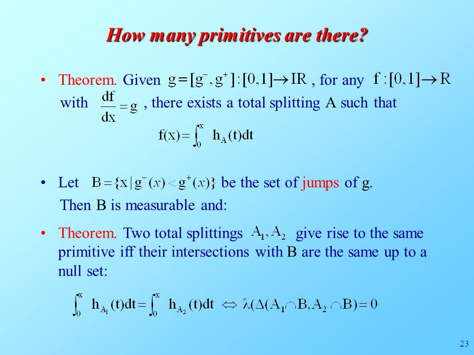 23 How many primitives are there. Theorem.