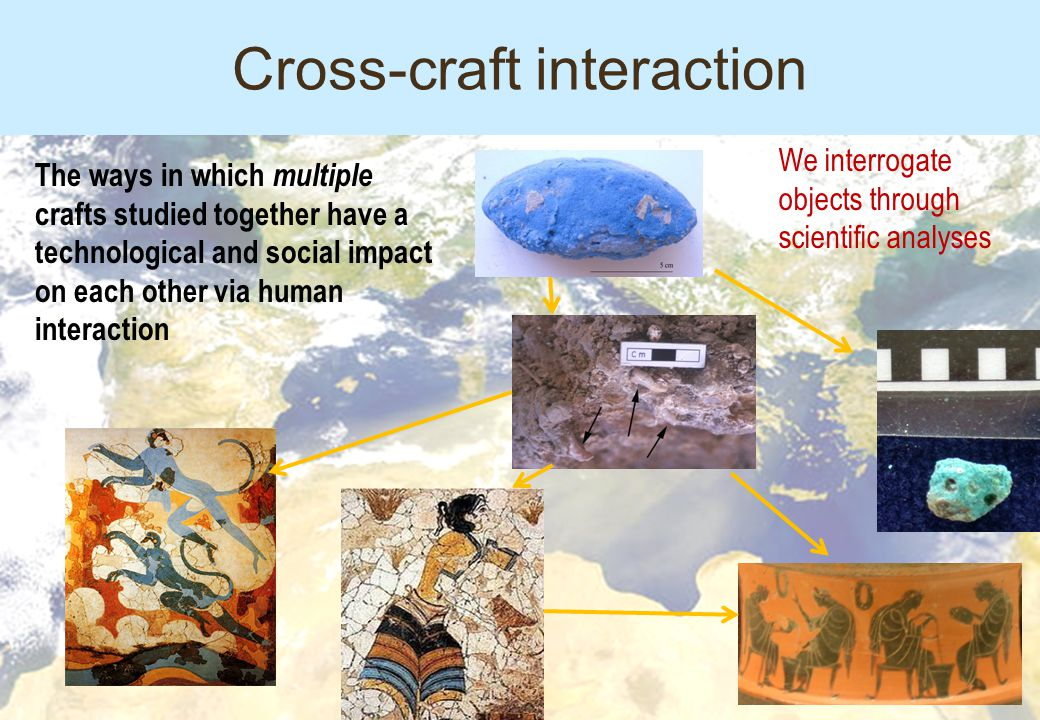 The ways in which multiple crafts studied together have a technological and social impact on each other via human interaction We interrogate objects through scientific analyses Cross-craft interaction