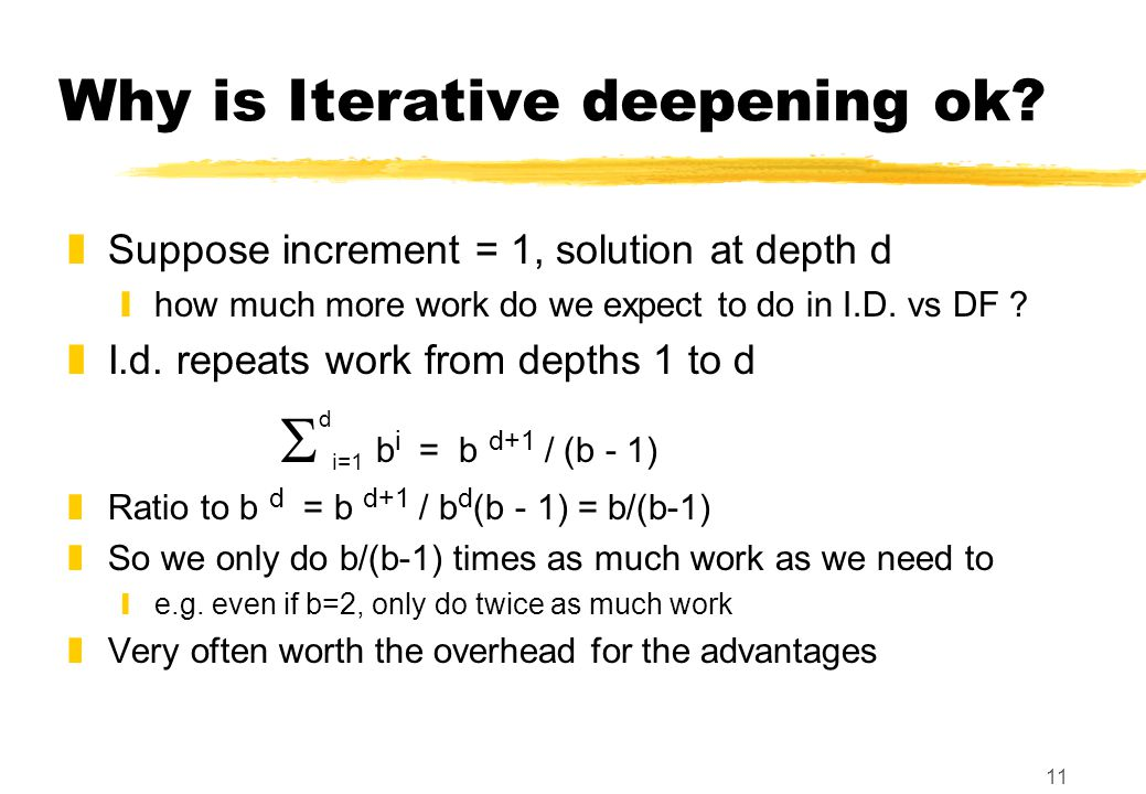 11 Why is Iterative deepening ok.