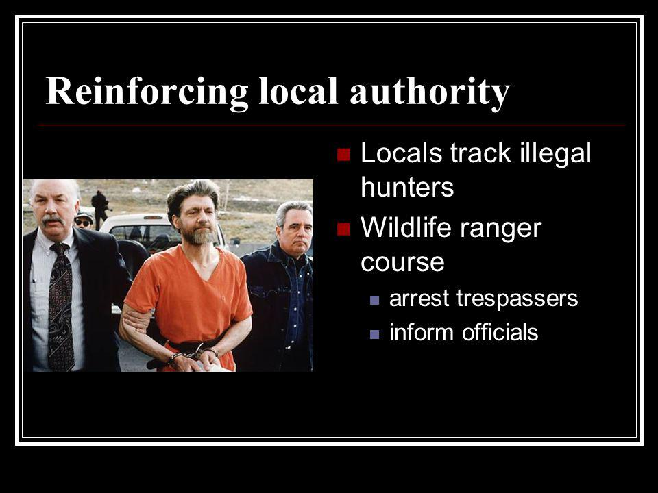Reinforcing local authority Locals track illegal hunters Wildlife ranger course arrest trespassers inform officials