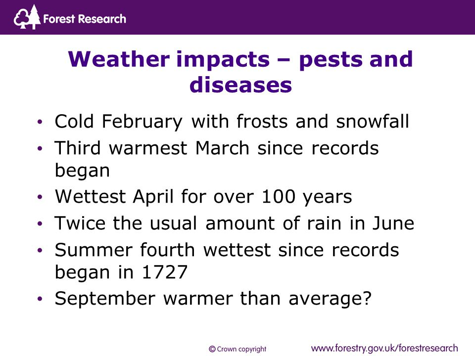 Cold February with frosts and snowfall Third warmest March since records began Wettest April for over 100 years Twice the usual amount of rain in June Summer fourth wettest since records began in 1727 September warmer than average.
