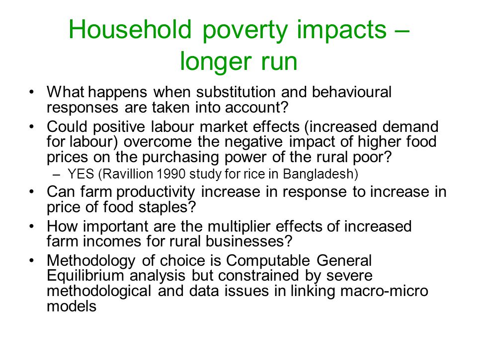 Household poverty impacts – longer run What happens when substitution and behavioural responses are taken into account.
